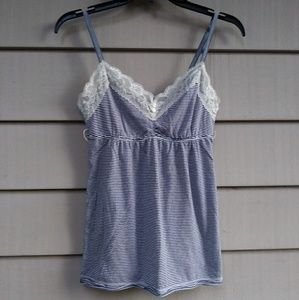 Hollister striped lace tank top large